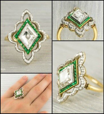 Emerald Art Deco Vintage Engagement Wedding Beautiful Ring 14K Yellow Gold Over