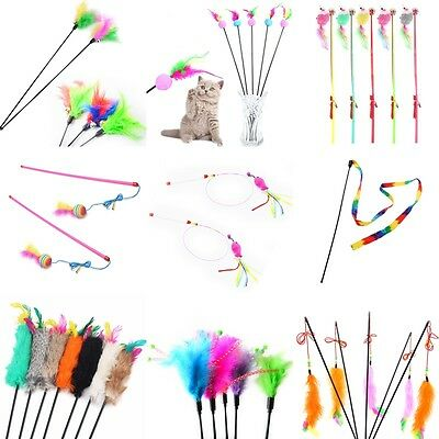 Multi Pet Cat Kitten Toy Mouse Teaser Wand Feather Rod Cat Play Toys  w/#.