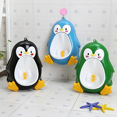 Cartoon Penguin Potty Urinal Toilet Bathroom Pee Trainer for Kids Boys B#