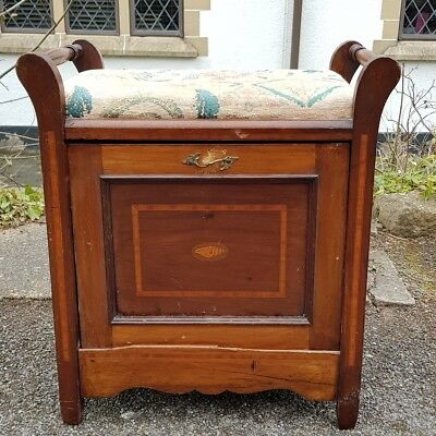 A Lovely Antique Edwardian Piano Stool with Tilt Storage Needs TLC/Restoration