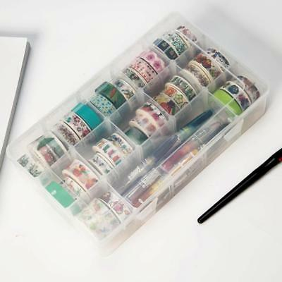 Transparent Washi Tape Box Stationary Storage Organizer Box School Supplies S/#