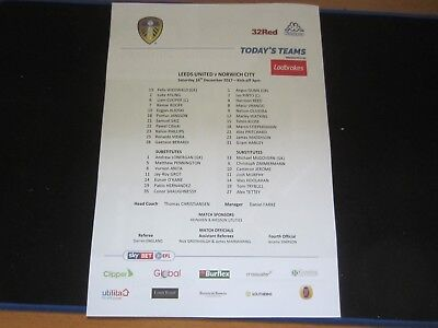 2017-18  CHAMPIONSHIP  LEEDS UNITED v  NORWICH CITY  TEAM SHEET