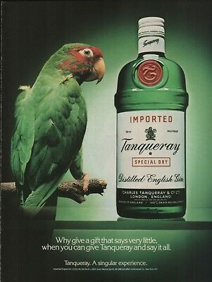 1989 Tanqueray Gin Why Give A Gift That Says Very Little Parrot Bird Print Ad