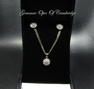9ct Gold Diamond Cluster Pendant Necklace and Earring Suite