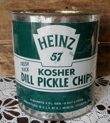 Vintage Heinz 57 Kosher Dill Pickle Chips 3 Qt Tin