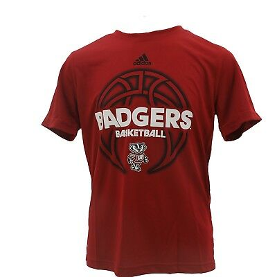 e555990ab34 Wisconsin Badgers Kids Youth Size NCAA Adidas Athletic Shirt New With Tags