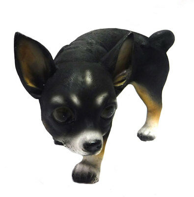 """Small Chihuahua Black Peeing Dog Statue Novelty Figurine Collectors 4.5"""" High"""