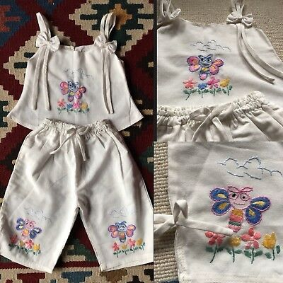 Original Vintage 50's Hand Made Embroidered Butterfly Bow Baby Girl Outfit 3-6 M