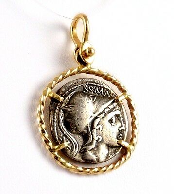 Sterling Silver Roma Athena Ancient Replica Coin in 14k Yellow Gold Rope Pendant