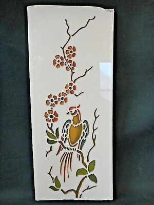 Vintage Art Deco Bird & Flowers Vitrolite Glass Panel - Structural Glass Tile