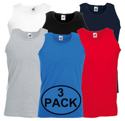 3 Pack Fruit of the Loom Mens Athletic Vest Plain Tank Top - S, M, L, XL, 2XL
