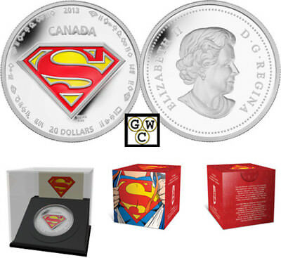 2013 'Superman Shield' Enameled Proof $20 Silver Coin 1oz .9999Fine(13290)(OOAK)
