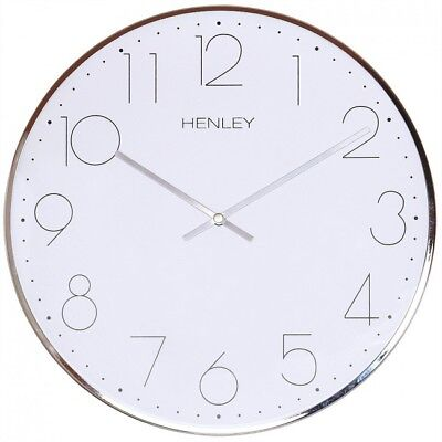HENLEY Quiet Ticking Sweep Movement  40cm Contemporary Metal Wall Clock - Chrome