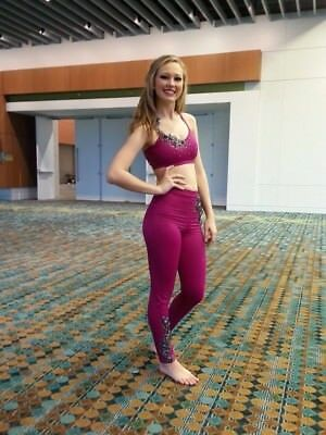 dark pink two piece dance costume sz small high waisted leggings and crop top