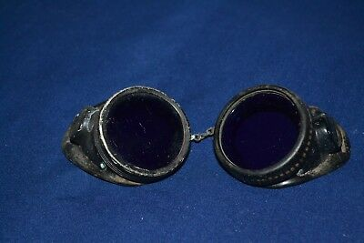 Vintage Oxweld safety Goggles Cobalt Blue Lens  RARE Steampunk Motorcycle Glass