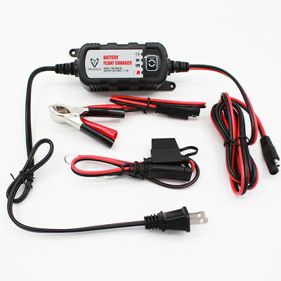 12V 6V 1.2A Compact Trickle Battery Charger/Tender For Car ATV Motorcycle Mower
