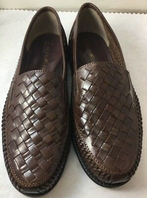 14472dd2cdc Deer Stags Tijuana Mens 9.5 D Woven Slip On Shoes Huaraches Leather Upper