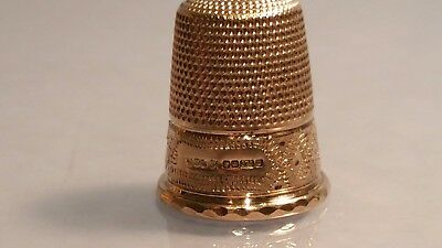 Q 9ct Solid Gold thimble diamond cut goldThimble by James Swann 1978