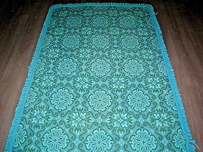 """Vintage 60s 70s Casa Pupo blue turquoise reversible wool rug 69"""" X 40"""""""