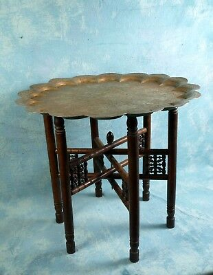 LARGE Teak Folding Anglo-Indian Wine Coffee TABLE brass Engrave animals Wedding