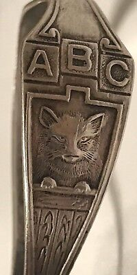 Rare Antique Webster Sterling Silver Abc Alphabet Nursery Rhyme Baby Spoon Cat