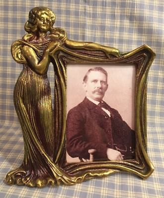 "Art Nouveau Deco Figural Lady Picture Frame Gold Gilt Brown Accented 8-1/2"" Tall"