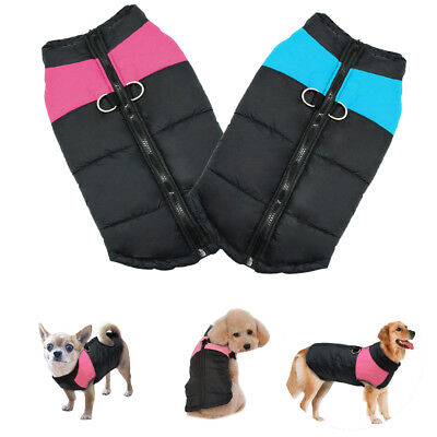 Large Dog Jacket Padded Waterproof Pet Clothes Winter Warm Coats Blue Pink S-7XL