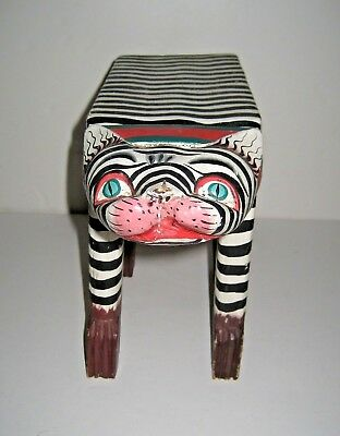 Cat Black/White Striped Wood Table/Stand Handmade Hand Painted Bali - Island Art