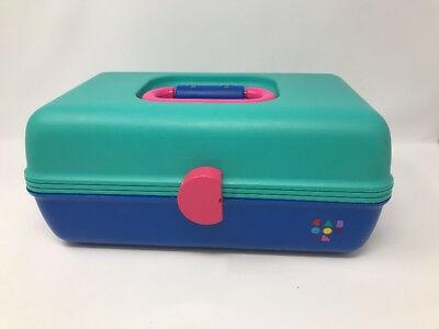 Caboodles Makeup Case Teal Blue Pink Sliding Trays Cosmetic Organizer Vintage