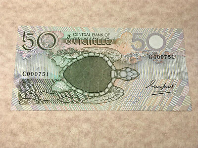 Seychelles 50 Rupees 1983 Banknote P-30a with Sea Turtle S/N C000751