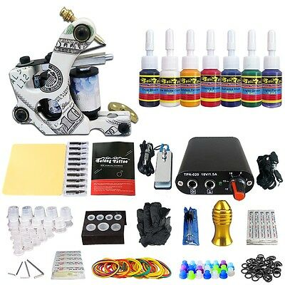 Complete Starter Tattoo Kit 1 Machine Gun Power Supply 7 Colors Ink TK105-33