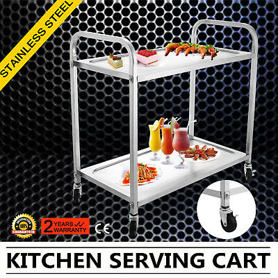 Stainless Steel Prep Table Kitchen Work Food Cart Island Rolling Garage Utility