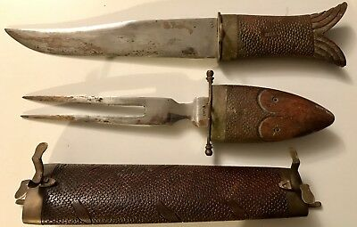 """Antique Scabbard Carved Wood Fish Sheath Forged Steel Knife Fork India Brass 19"""""""