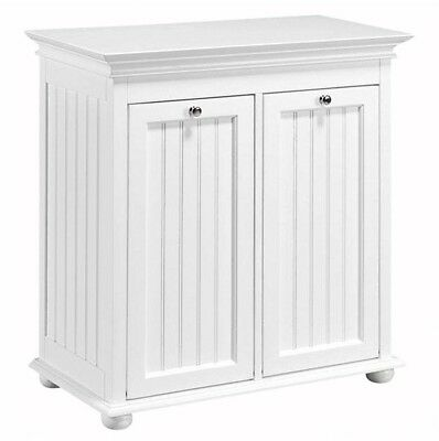 Tilt Out Laundry Hamper Cabinet Storage White Wooden 2 Compartment Recycling