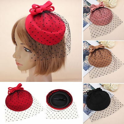 Women Bowknot Fascinator Hairclip Beret Hair Pillbox Hat Veil Cocktail Party AU