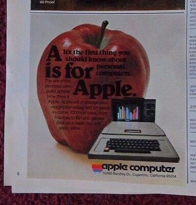 1978 Print Ad APPLE COMPUTERS ~ A is for APPLE ~ The First Thing You Should Know