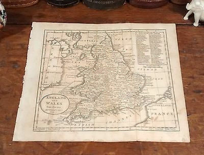 Rare Original 1805 Antique Map ENGLAND WALES London Liverpool UK