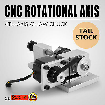 CNC Lathe Router Rotational Rotary Axis,A-axis, 4th-axis,3Jaw Chunk & Tailstock