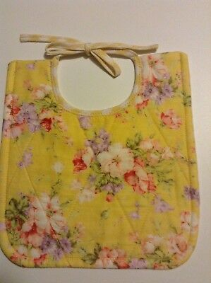 Bib baby quilted fabric yellow floral Girl Handmade