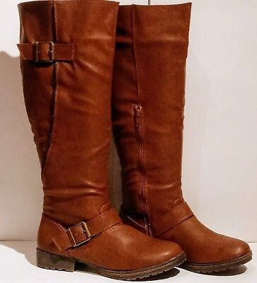 aea20d5c1eb JUST FAB KNEE High Boots - Wide Calf - Brown - Parlee - Size 6 BOXED ...