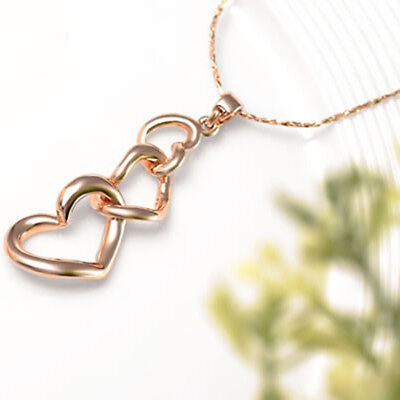 Rose Gold Plated Heart Charm Pendant Chain Necklace Gift Wedding Jewelry