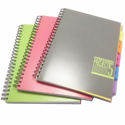 A4 Blue Striped 5 Colour Tab Lecture Spiral Book Project Pad 250 Pages