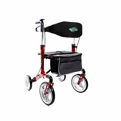 "Healthline Trading  Walker Rollator ""Atlantis"" With 10"" Wheels Fold Up Red"