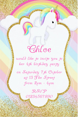 10 Unicorn Personalised Birthday Party Invitations Or Thank Yous New For 2018