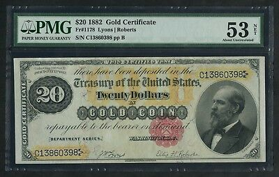 Fr1178 $20 1882 Series Gold Note -- Pmg 53 New Au -- Wlm5601