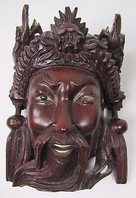 Old Carved Asian Wood Mask Man Devil Dogs Exquisite Detailing Eyes Teeth ma6