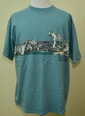 VINTAGE Siegfried and Roy t-shirt blue 2XL/XL Las Vegas Mirage white tigers