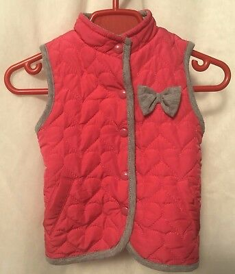 Bambini Baby Girls Dark Pink Quilted Gilet Sleeveless Jacket - Age 9-12 Months
