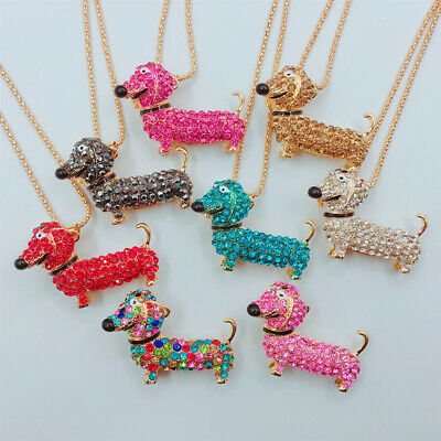 Gold Plated Rhinestone Enamel Cute Dachshund Dog Pendant Necklace Sweater Chain