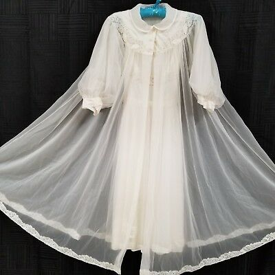 Vintage Shadowline Chiffon Nylon Bridal Peignoir Set Small Sheer Gown Robe Lace